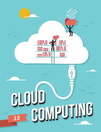 conquistando: La computaci�n en nube empresarial fichero concepto ilustraci�n retro en capas para una f�cil manipulaci�n y colorante de encargo