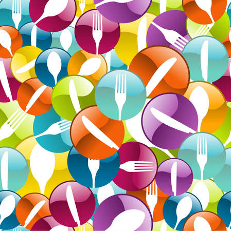 Multicolored cutlery icons pattern background illustration layered for easy manipulation and custom coloring  Vector