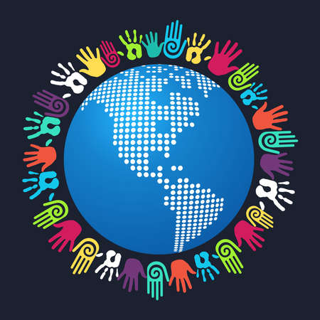hands holding earth: Colorful people hand around America world map  Vector file layered for easy manipulation and custom coloring