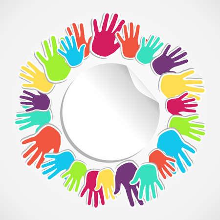 solidaridad: Manos de la gente conectada concepto icono de ilustración de fondo vector archivo en capas para una fácil manipulación y colorante de encargo Vectores
