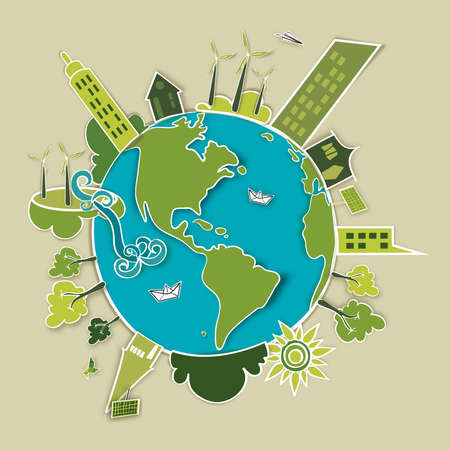 imaginary: Go green world  Industry sustainable development with environmental conservation background illustration file layered for easy manipulation and custom coloring