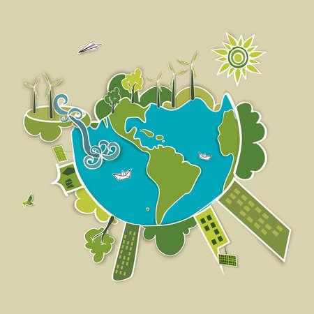 Ga groene wereld Industrie duurzame ontwikkeling met behoud van het milieu, achtergrond, illustratie Vector bestand gelaagd voor eenvoudige manipulatie en aangepaste kleur