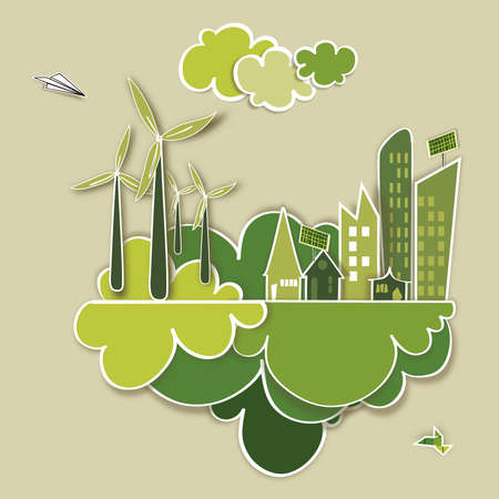 save earth: Ecology town, industry sustainable development with environmental conservation background illustration file layered for easy manipulation and custom coloring  Illustration