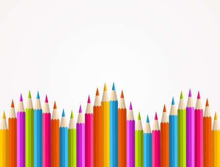 Colorful rainbow pencil banner seamless pattern background. illustration layered for easy manipulation and custom coloring. Vector