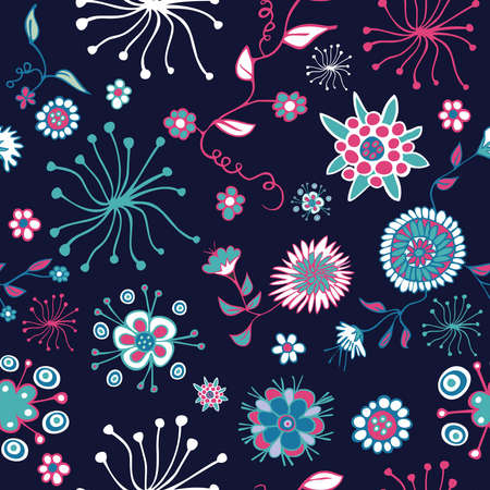 style: Color abstract nature seamless pattern with floral on navy background illustration layered for easy manipulation and custom coloring