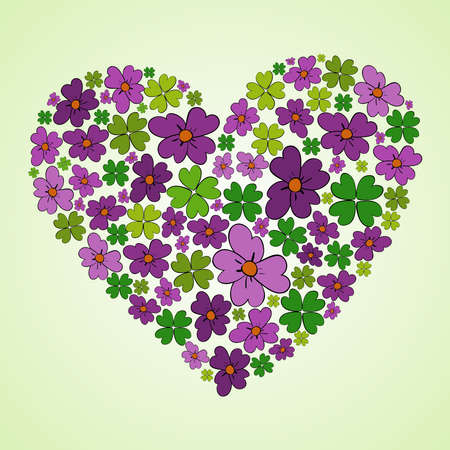 colorful spring flower icons texture in heart shape composition background illustration layered for easy manipulation and custom coloring  Vector