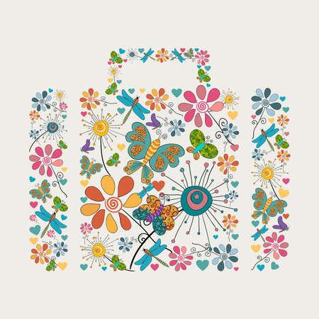 Fleur de printemps et papillon icônes texture en forme icône d'affaires illustration de fond composition en couches pour une manipulation aisée et la coloration personnalisée