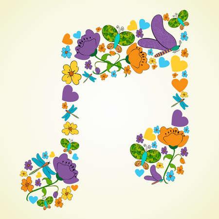 五颜六色的春天象纹理在音乐笔记形状构成背景例证分层为易操作和定制着色