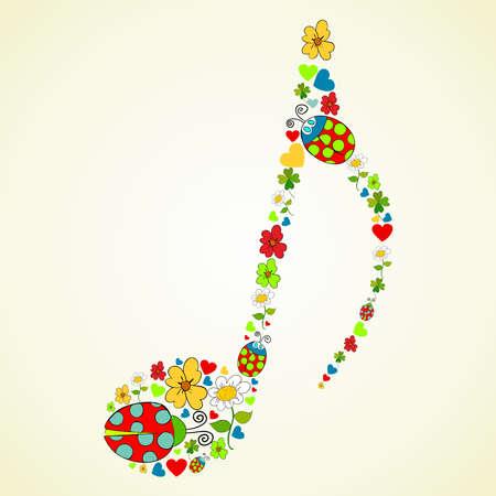 iconos de música: Iconos coloridos de primavera textura en la nota de la m�sica composici�n de forma de ilustraci�n de fondo en capas para la manipulaci�n f�cil y colorante de encargo