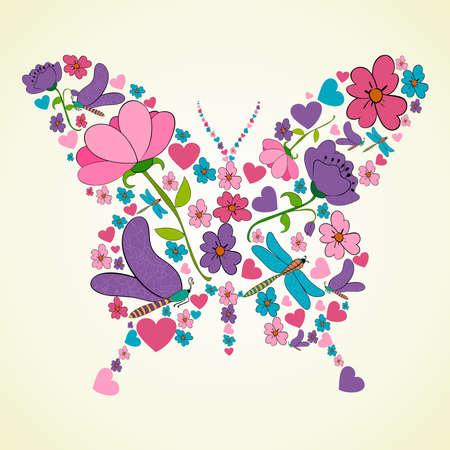 anniversary wishes: Colorful flower butterfly shape illustration illustration layered for easy manipulation and custom coloring