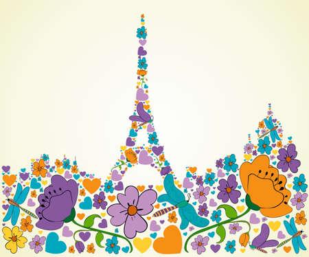 eiffel tower: Flor de primavera y textura mariposa iconos en Par�s ilustraci�n silueta fondo forma composici�n en capas para una f�cil manipulaci�n y colorante de encargo Vectores