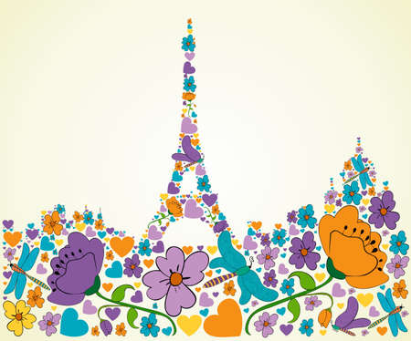 Spring flower and butterfly icons texture in Paris skyline silhouette shape composition background illustration layered for easy manipulation and custom coloring  Vector