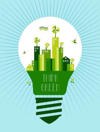 eco building: Think green text  Lamp and green city town background file layered for easy manipulation and custom coloring