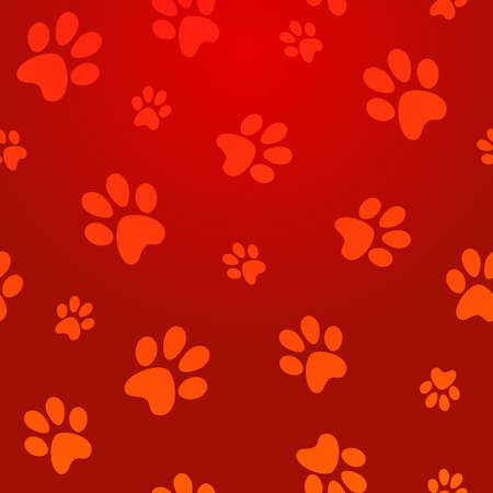 cute cat: Pet paw abstract red seamless pattern background  Vector illustration layered for easy manipulation and custom coloring  Illustration