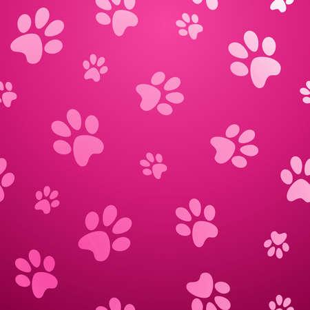 かわいい犬の足跡抽象的なピンクのシームレスなパターン背景ベクトル イラストを簡単に操作およびカスタム着色層