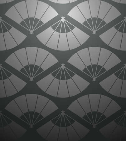color fan: Orient fan abstract black seamless pattern background  Vector illustration layered for easy manipulation and custom coloring  Illustration