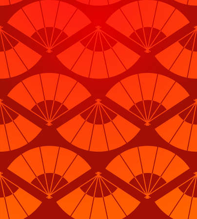 color fan: Japanese fan abstract seamless pattern in red background  Vector illustration layered for easy manipulation and custom coloring