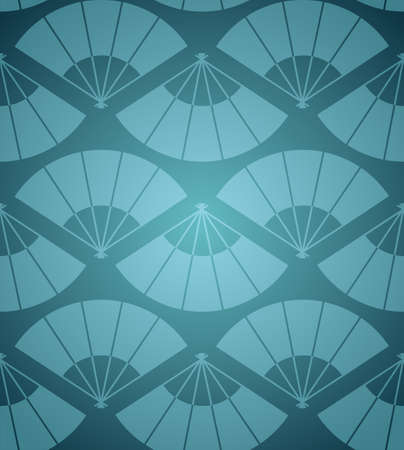 Oriental fan abstract blue background seamless pattern  Vector illustration layered for easy manipulation and custom coloring
