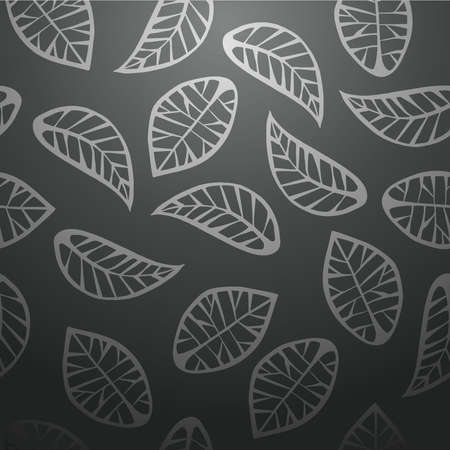 decorative: Elegant leaves abstract design seamless pattern black background. Vector illustration layered for easy manipulation and custom coloring.