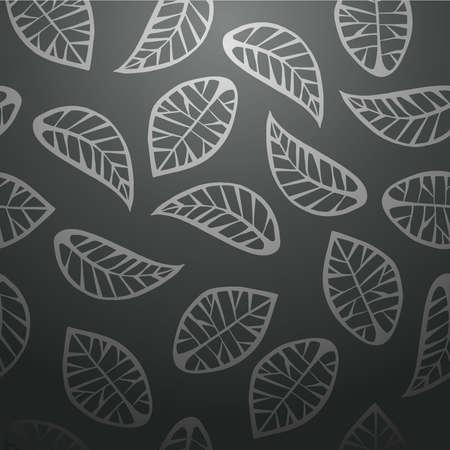 papel tapiz: Hojas elegante diseño abstracto sin fisuras de fondo negro patrón. Ilustración vectorial en capas para la manipulación fácil y colorante de encargo.