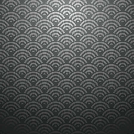 color fan: Elegant Japan abstract wave design seamless pattern black background. Vector illustration layered for easy manipulation and custom coloring.