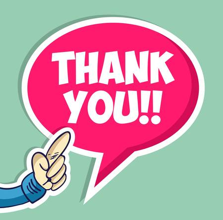 Thank you hand with speech bubble sticker background. Vector file layered for easy manipulation and custom coloring Vector