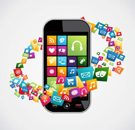 Trendy pictogram apps set concept achtergrond. Vector illustratie gelaagd voor eenvoudige manipulatie en aangepaste kleuren. Stock Illustratie
