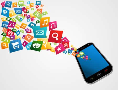 Smartphone scaricare apps set di icone concetto di fondo. Illustrazione vettoriale strati di facile manipolazione e la colorazione personalizzata. Archivio Fotografico - 20602655