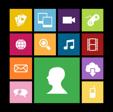 Trendy smartphone web apps icon set concept background. Vector illustration layered for easy manipulation and custom coloring. Stock Vector - 20602433