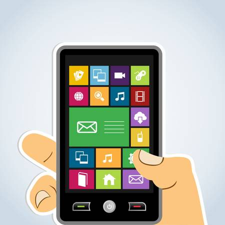 Diversité smartphones applications web icônes concept de base. Illustration vectorielle couches pour une manipulation facile et la coloration personnalisée. Banque d'images - 20602445