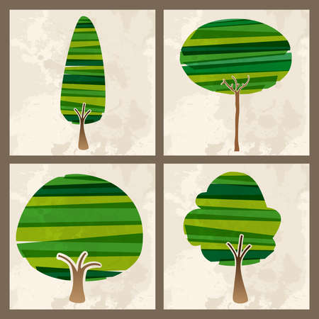 banded: Contemporary green transparent banded tree set. EPS10 file version. This illustration contains transparencies and is layered for easy manipulation and custom coloring