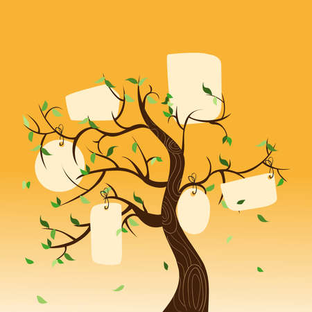 Family concept tree with hanging labels leaves. Vector file layered for easy manipulation and custom coloring. Vector