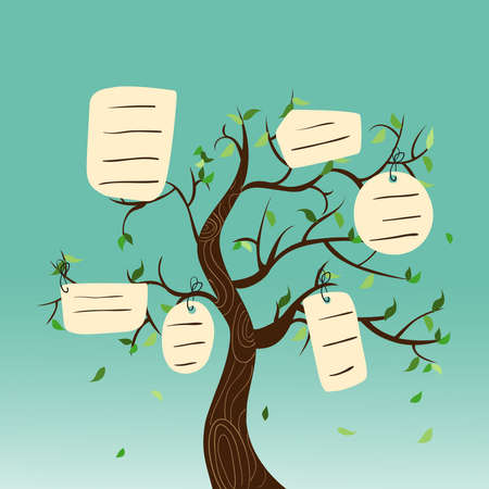 arbol geneal�gico: �rbol geneal�gico concepto con colgar etiquetas de hojas. Archivo vectorial en capas para la manipulaci�n f�cil y colorante de encargo.