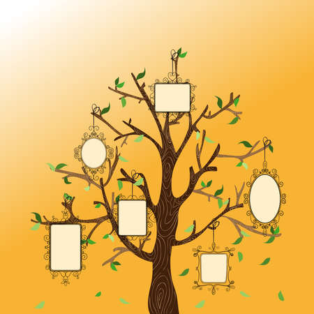 etched: Retro concept family tree with hanging photo frames leaves. Vector file layered for easy manipulation and custom coloring.