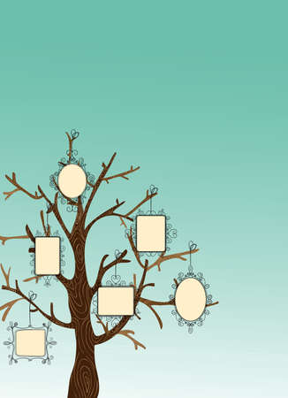 Family concept tree with hanging photo frames leaves. Vector file layered for easy manipulation and custom coloring. Illustration