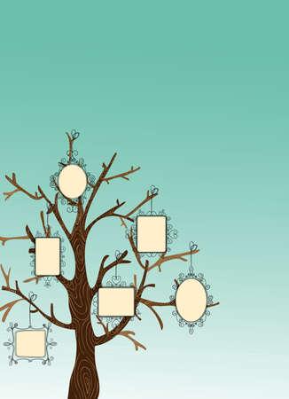 generace: Rodina koncept strom s visící fotorámečky listy. Vektorový soubor vrstvené pro snadnou manipulaci a vlastní vybarvení. Ilustrace