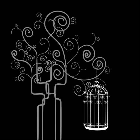 Bird cage hanging from swirl tree isolated over black background. Vector file layered for easy manipulation and custom coloring. Vector
