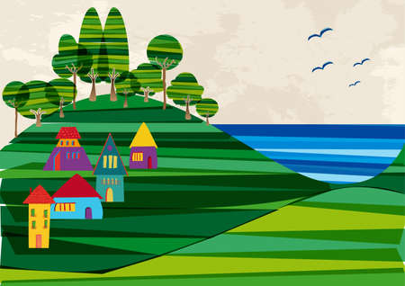 the banded: Multicolored transparent banded town near the shore. This illustration contains transparencies and is layered for easy manipulation and custom coloring