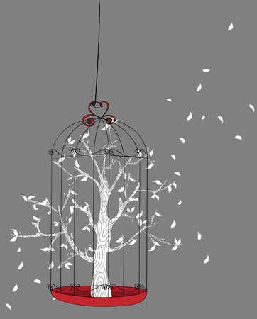 gabbie: Estratto diritti umani concetto di protezione albero sfondo. Vector file livelli di facile manipolazione e la colorazione personalizzata.