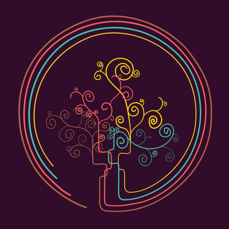 allegory: Trendy Curled abstract tree shape silhouette draw. Vector file layered for easy manipulation and custom coloring.