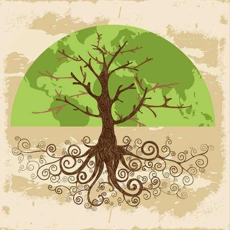 상징: 둥근 뿌리를 가진 나무의 세계지도의 개념입니다. 쉬운 조작 및 사용자 지정 색상을위한 계층화 된 벡터 파일입니다.