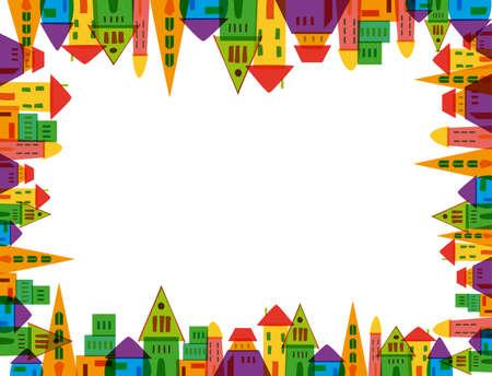 흰색 배경 위에 다채로운 귀여운 도시 프레임. 쉬운 조작 및 사용자 지정 색상을위한 계층화 된 벡터 파일입니다.
