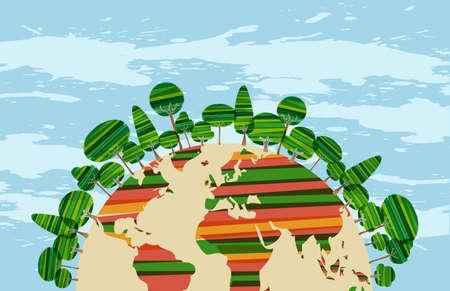 Colorfu grüne Welt Konzept über himmelblau Hintergrund Grunge. Vektor-Datei für die einfache Handhabung und individuelle Färbung geschichtet. Standard-Bild - 20603085