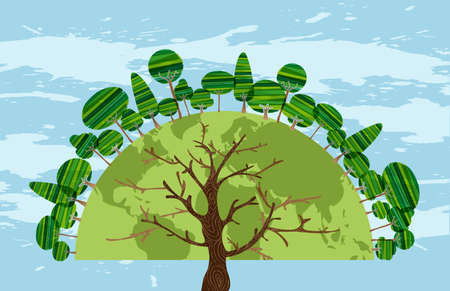 Colorful Tree world of trees concept over sky blue background. Vector file layered for easy manipulation and custom coloring.