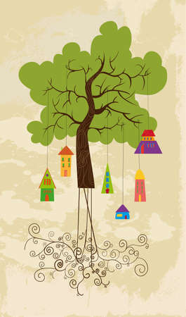 cultivating: Color tree family bird house with curly roots over grunge background. Vector file layered for easy manipulation and custom coloring.