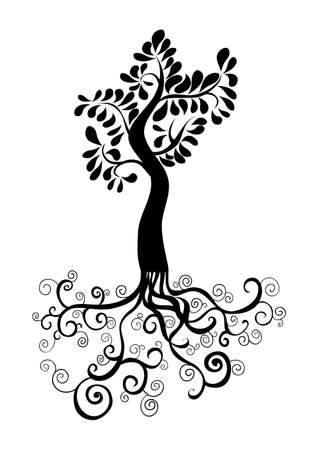 Curly tree with roots and foliage silhouette. Vector file layered for easy manipulation and custom coloring. Stock Vector - 20602964