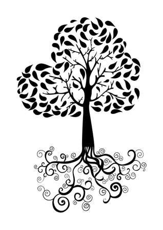 Schwarz Baum Silhouette Illustration Mit Wurzeln. Vector-Datei Für ...