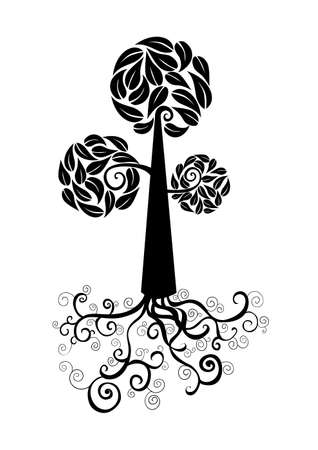 Curly tree with roots and leaves circle shape. Vector file layered for easy manipulation and custom coloring. Stock Vector - 20602899