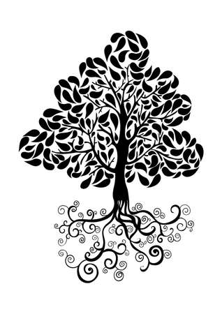 Bug tree icon with curly roots and leaves silhouette. Vector file layered for easy manipulation and custom coloring. Vector