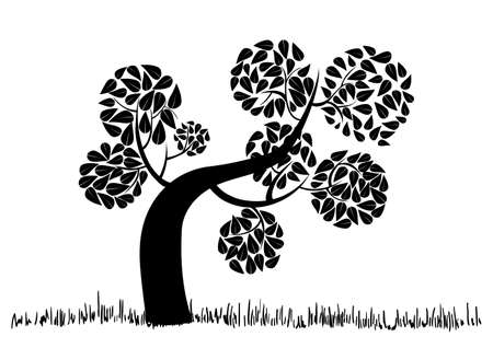 new life: Black tree icon concept with leaves circle shape. Vector file layered for easy manipulation and custom coloring. Illustration